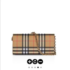 Burberry Vintage Check & Leather Wallet w/Chain